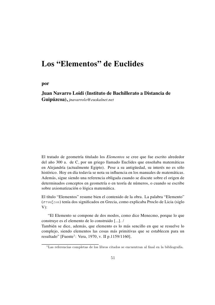 """Los """"Elementos"""" de EuclidesporJuan Navarro Loidi (Instituto de Bachillerato a Distancia deGuipuzcoa), jnavarrolo@euskalnet..."""