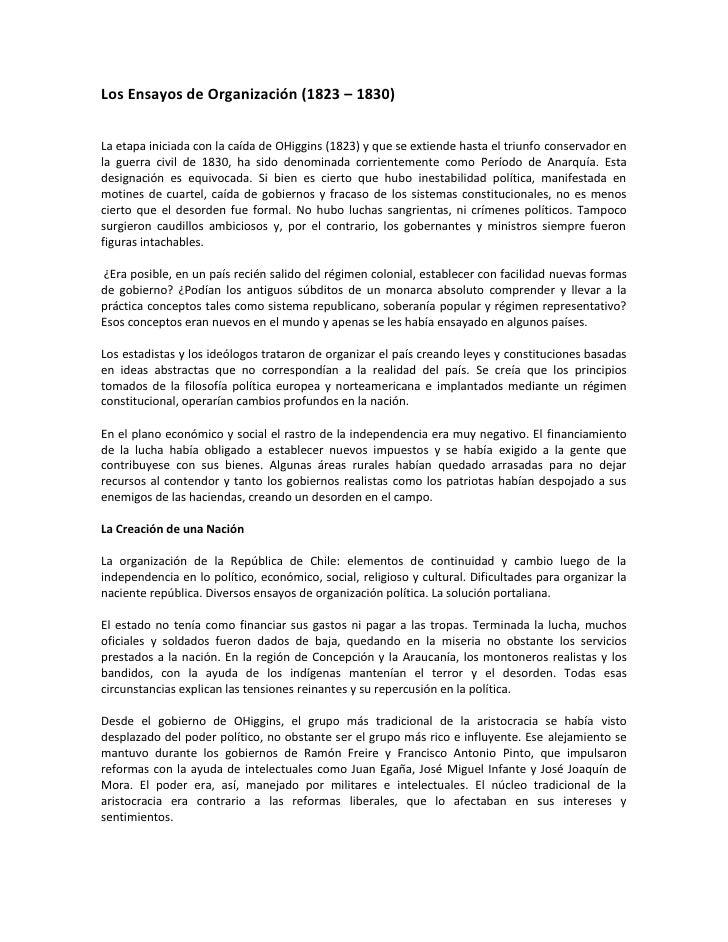 Los Ensayos de Organización (1823 – 1830)   La etapa iniciada con la caída de OHiggins (1823) y que se extiende hasta el t...
