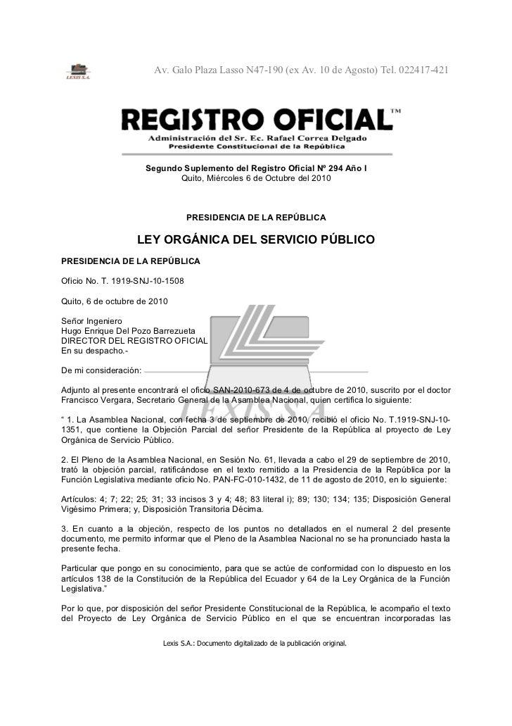 Av. Galo Plaza Lasso N47-190 (ex Av. 10 de Agosto) Tel. 022417-421                       Segundo Suplemento del Registro O...