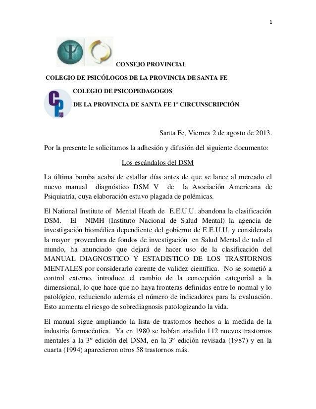 1 CONSEJO PROVINCIAL COLEGIO DE PSICÓLOGOS DE LA PROVINCIA DE SANTA FE COLEGIO DE PSICOPEDAGOGOS DE LA PROVINCIA DE SANTA ...