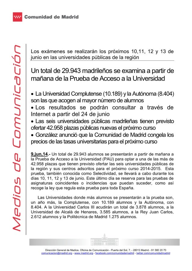 Un total de 29.943 madrileños se examina a partir de mañana de la Prueba de Acceso a la Universidad