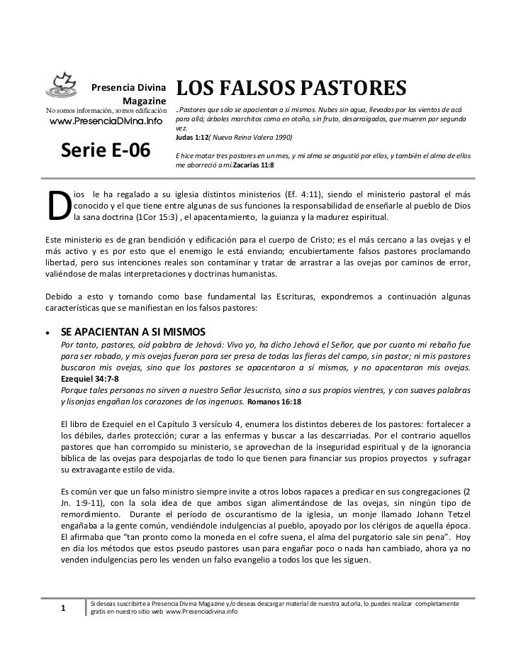 Presencia Divina                    Magazine                                            LOS FALSOS PASTORESNo somos inform...