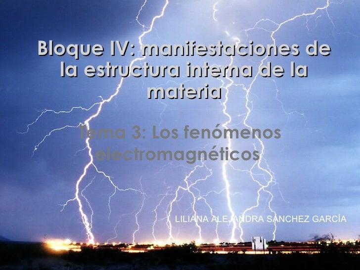 Bloque IV: manifestaciones de la estructura interna de la materia Tema 3: Los fenómenos electromagnéticos  LILIANA ALEJAND...