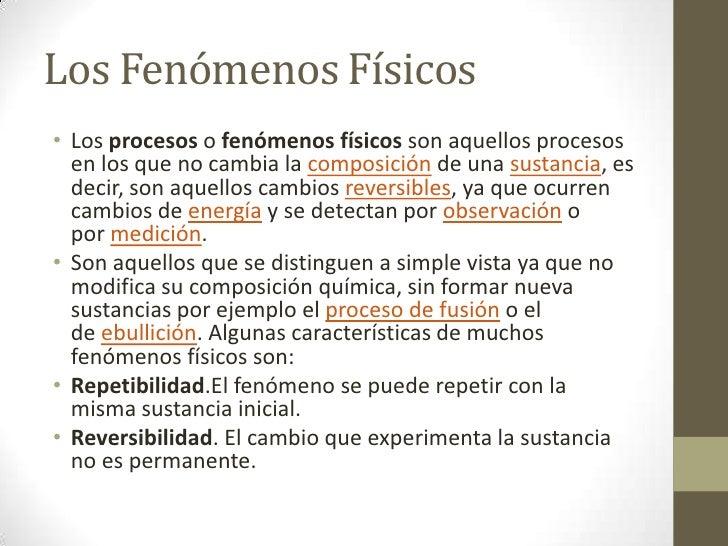 5 ejemplos fenomeno fisico: