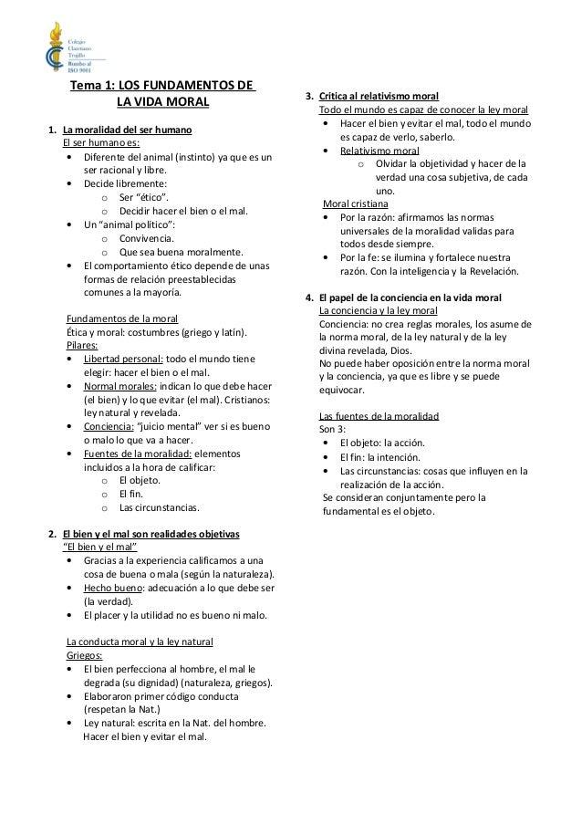 Tema 1: LOS FUNDAMENTOS DE                                                          3. Critica al relativismo moral       ...