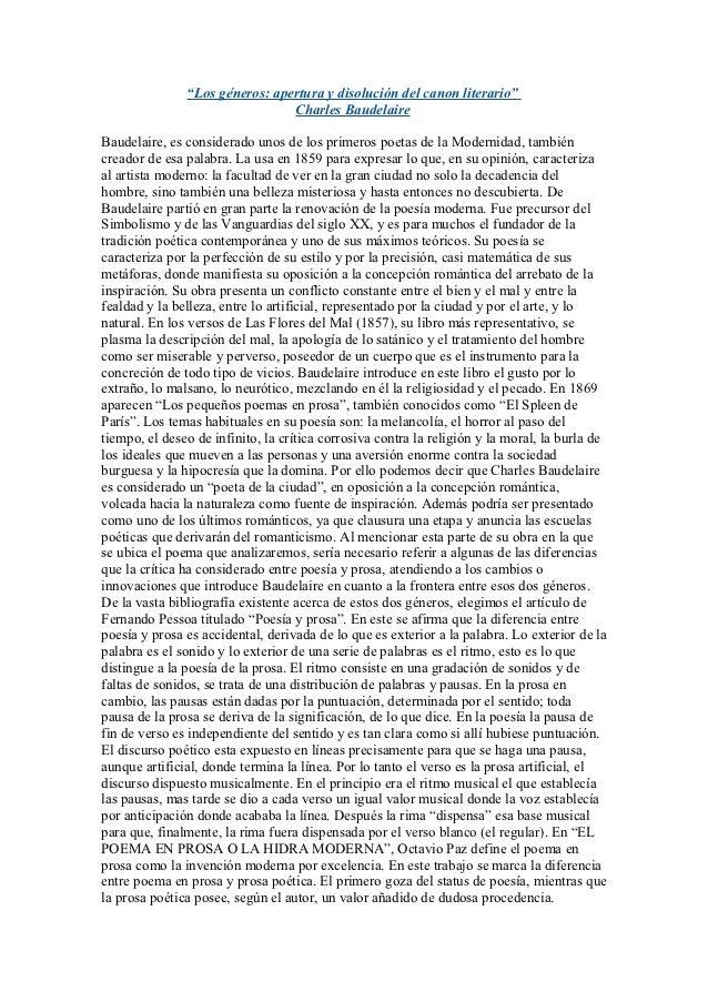"""""""Los géneros: apertura y disolución del canon literario""""                                Charles BaudelaireBaudelaire, es c..."""
