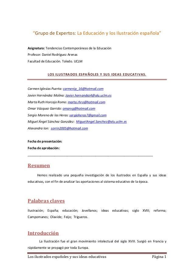 """Los ilustrados españoles y sus ideas educativas Página 1""""Grupo de Expertos: La Educación y los Ilustración española""""Asigna..."""