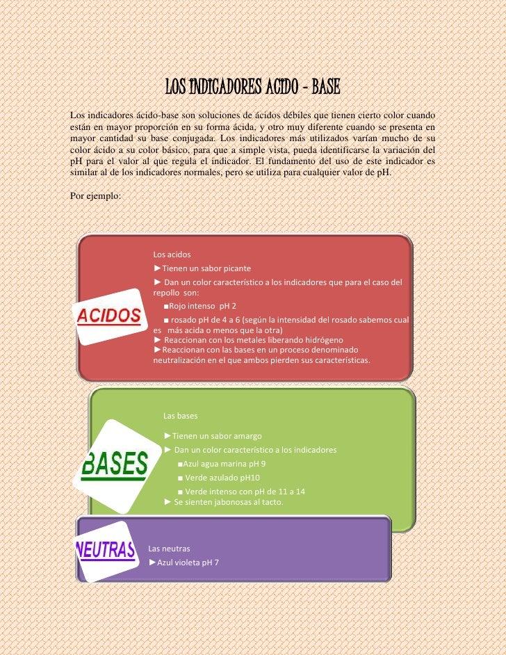 LOS INDICADORES ACIDO - BASE<br />Los indicadores ácido-base son soluciones de ácidos débiles que tienen cierto color cuan...