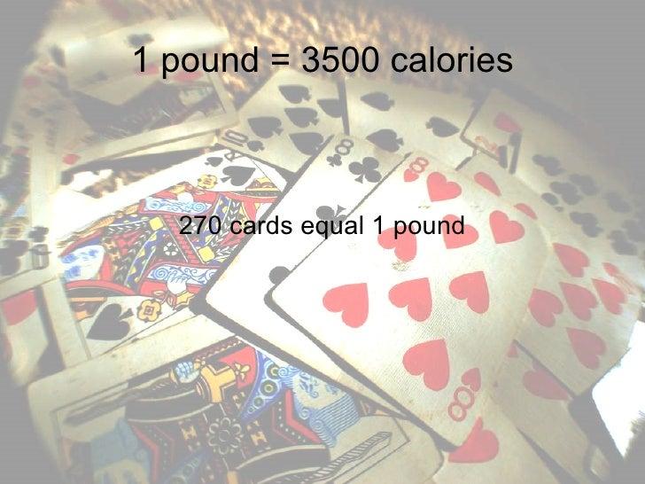 1 pound = 3500 calories 270 cards equal 1 pound