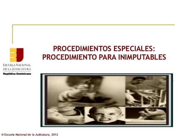 PROCEDIMIENTOS ESPECIALES:                             PROCEDIMIENTO PARA INIMPUTABLES© Escuela Nacional de la Judicatura,...