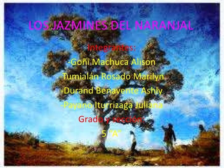 LOS JAZMINES DEL NARANJAL          Integrantes:      -Goñi Machuca Alison    -Tumialán Rosado Marilyn    -Durand Benavente...