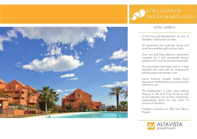 ELVIRIA, MARBELLA A front line golf development, on one of Marbella´s best known courses. All apartments are southwest fac...