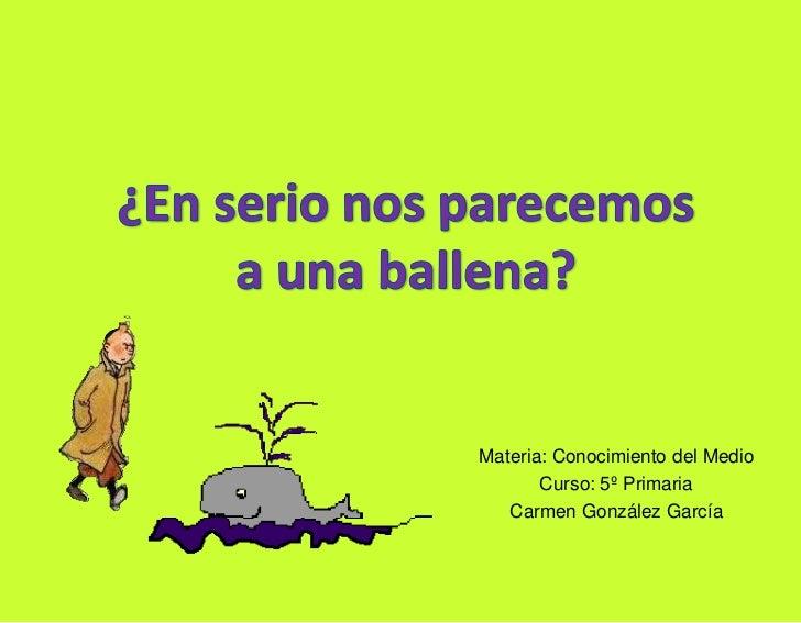 ¿En serio nos parecemos a una ballena?<br />Materia: Conocimiento del Medio<br />Curso: 5º Primaria<br />Carmen González G...