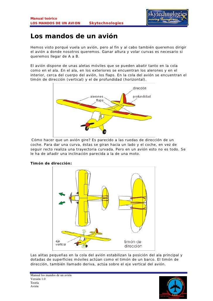 Manual teórico LOS MANDOS DE UN AVION          Skytechnologies   Los mandos de un avión Hemos visto porqué vuela un avión,...