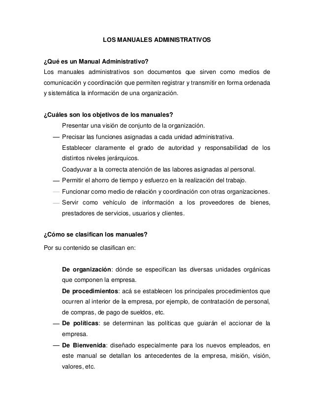 Los manuales administrativos