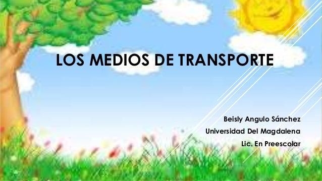 LOS MEDIOS DE TRANSPORTE Beisly Angulo Sánchez Universidad Del Magdalena Lic. En Preescolar