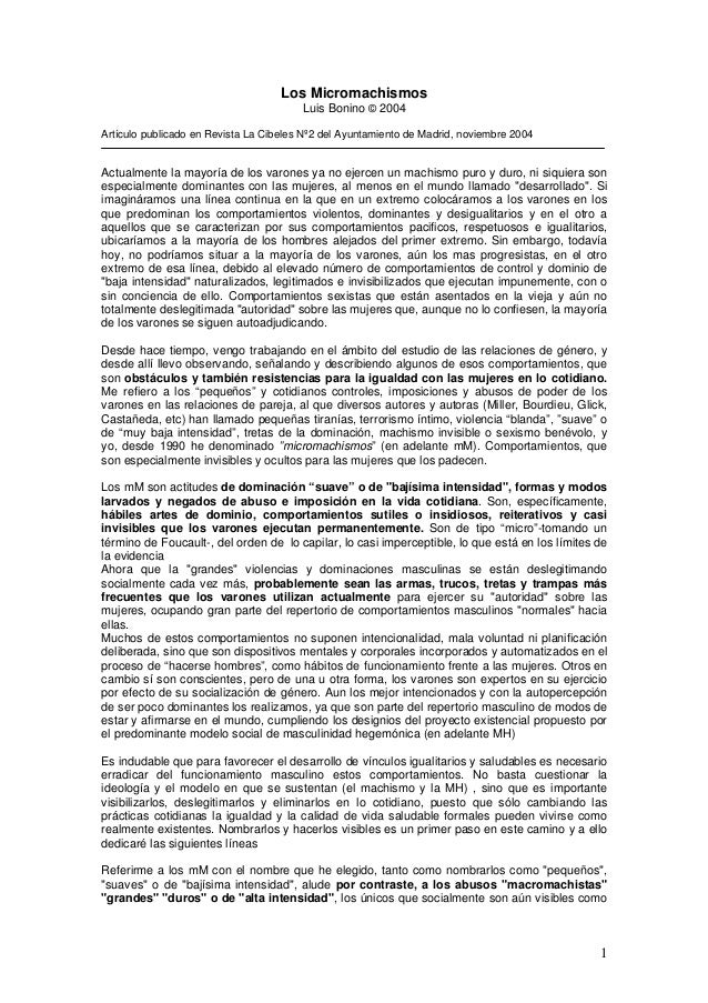 Los micromachismos Luis Bonino