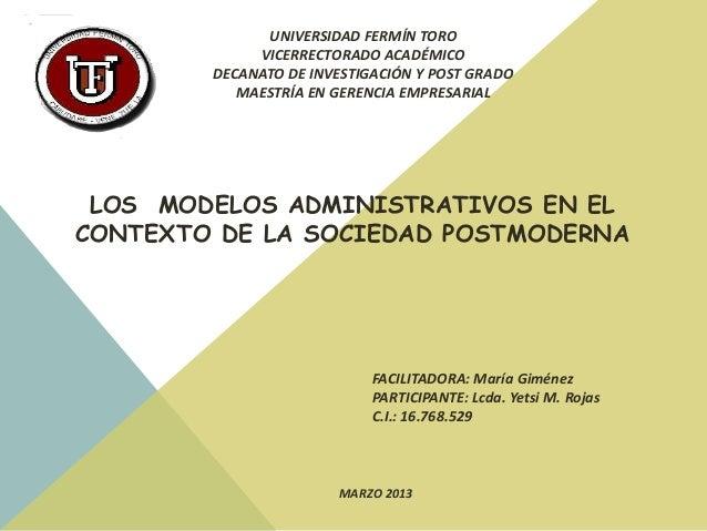 UNIVERSIDAD FERMÍN TORO             VICERRECTORADO ACADÉMICO        DECANATO DE INVESTIGACIÓN Y POST GRADO           MAEST...