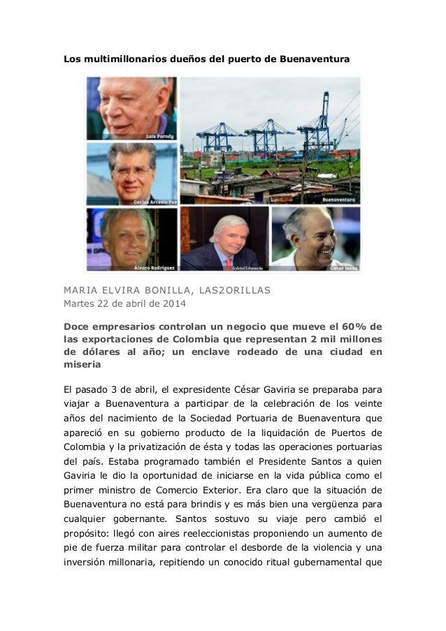 Los multimillonarios dueños del puerto de Buenaventura