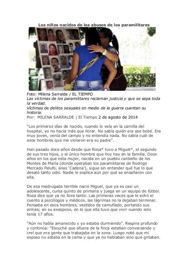 Los niños nacidos de los abusos de los paramilitares Foto: Milena Sarralde / EL TIEMPO Las víctimas de los paramilitares r...