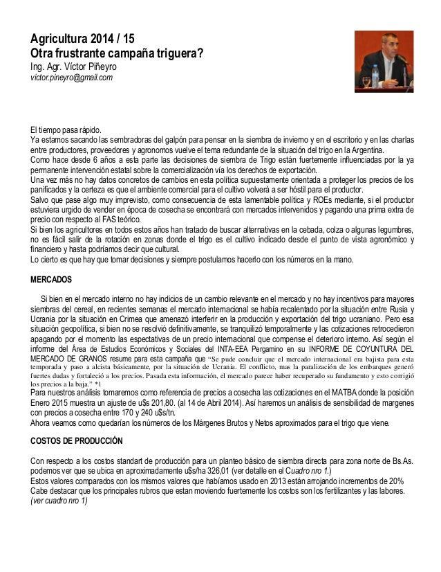 Los números para el trigo 2014 public arg nro 51 mayo 2014