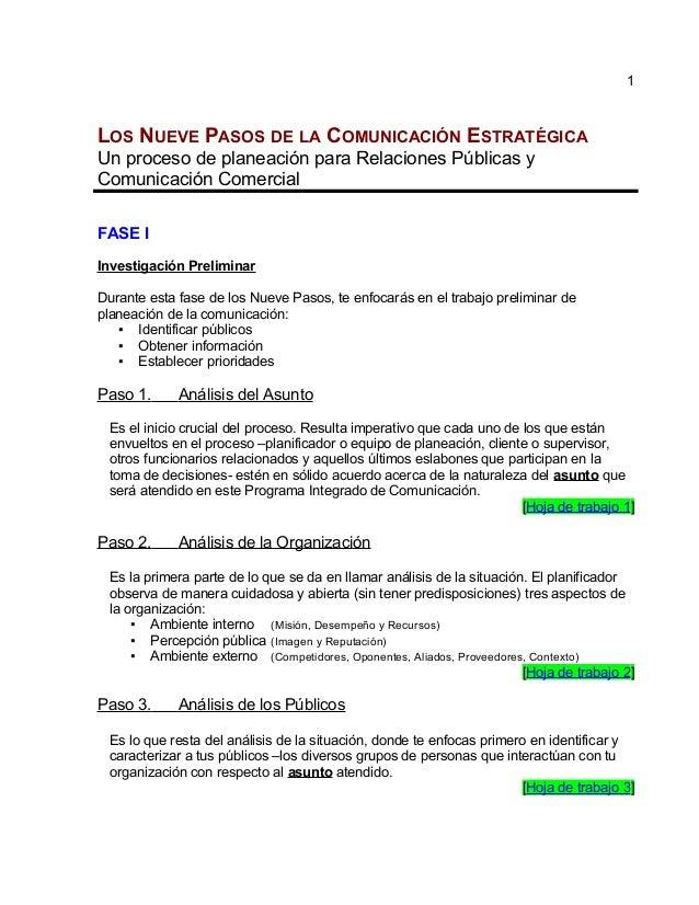 LOS NUEVE PASOS DE LA COMUNICACIÓN ESTRATÉGICA Un proceso de planeación para Relaciones Públicas y Comunicación Comercial ...