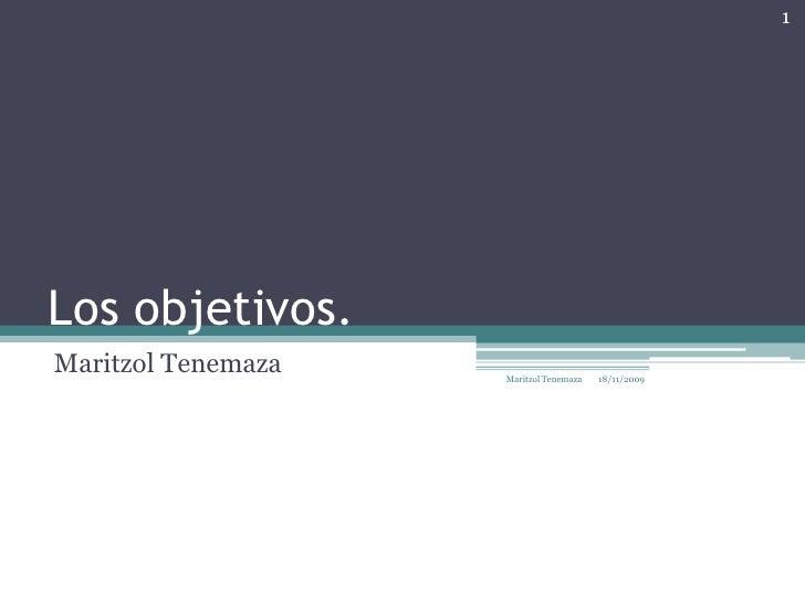 Los objetivos.<br />MaritzolTenemaza<br />17/11/2009<br />1<br />Maritzol Tenemaza<br />
