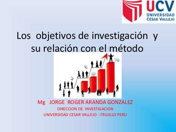 Los  objetivos de investigación  y su relación con el método<br />Mg   JORGE  ROGER ARANDA GONZALEZ <br />DIRECCION DE  IN...