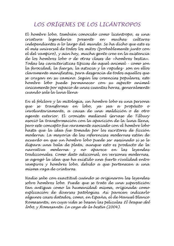 LOS ORÍGENES DE LOS LICÁNTROPOSEl hombre lobo, también conocido como licántropo, es unacriatura   legendaria      presente...