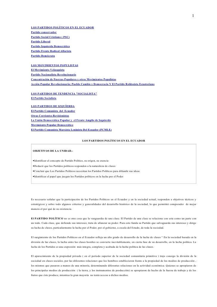 1LOS PARTIDOS POLÍTICOS EN EL ECUADORPartido conservadorPartido Social Cristiano ( PSC)Partido LiberalPartido Izquierda De...