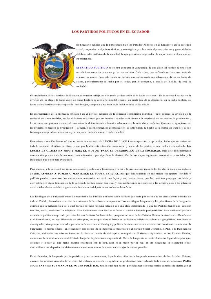 LOS PARTIDOS POLÍTICOS EN EL ECUADOR                                         Es necesario señalar que la participación de ...