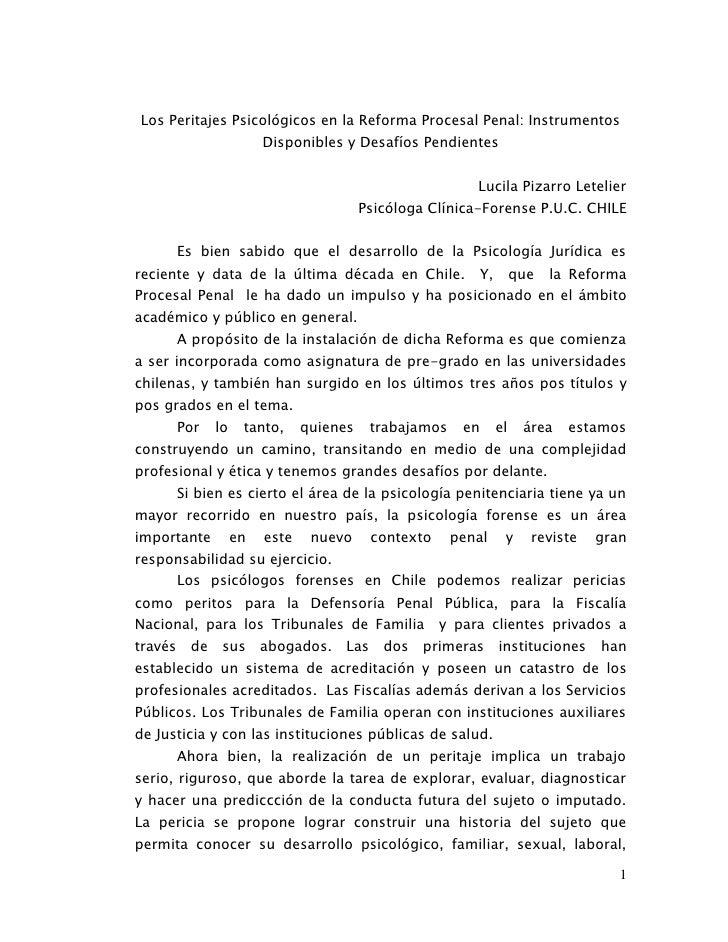 Los peritajes psicológicos en la reforma procesal penal