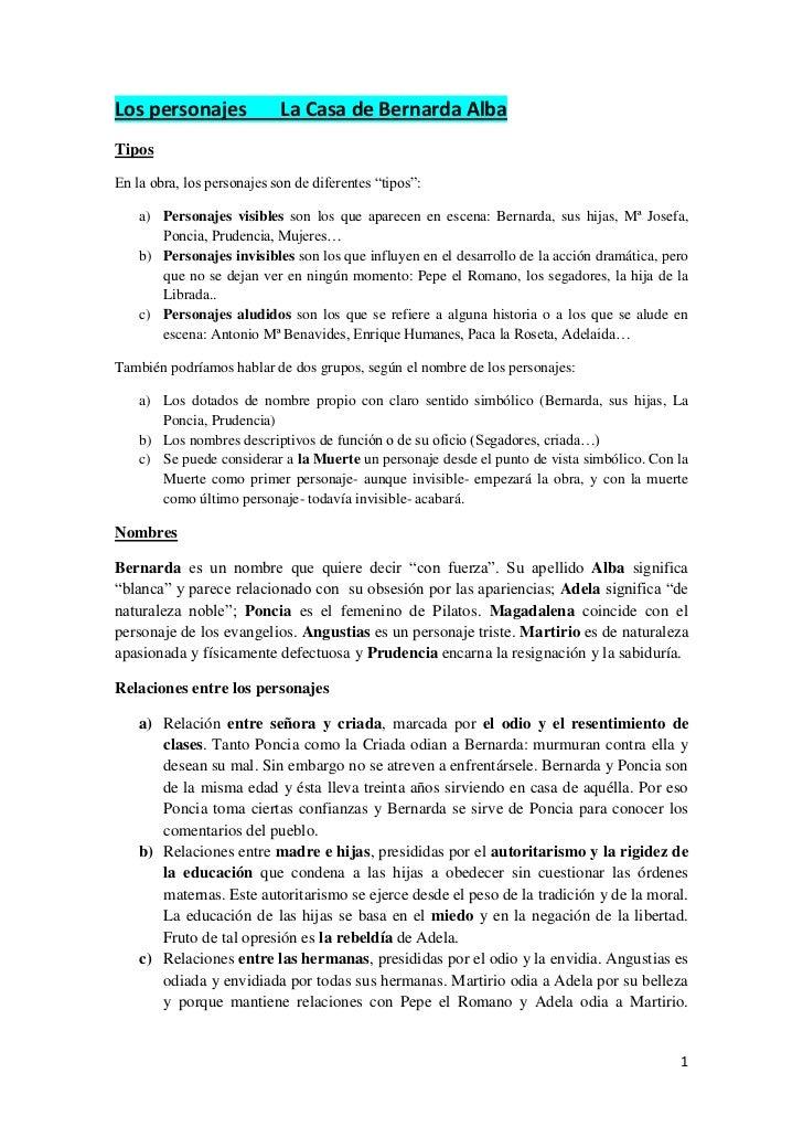 """Los personajes       La Casa de Bernarda Alba<br />Tipos<br />En la obra, los personajes son de diferentes """"tipos"""":<br />P..."""