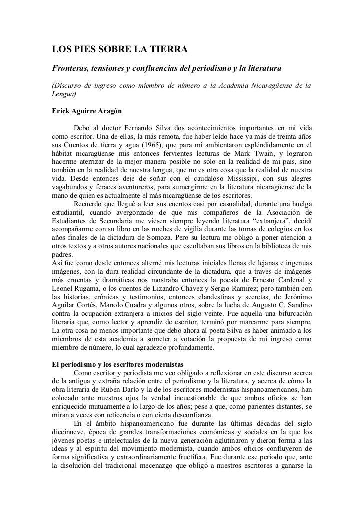 LOS PIES SOBRE LA TIERRAFronteras, tensiones y confluencias del periodismo y la literatura(Discurso de ingreso como miembr...