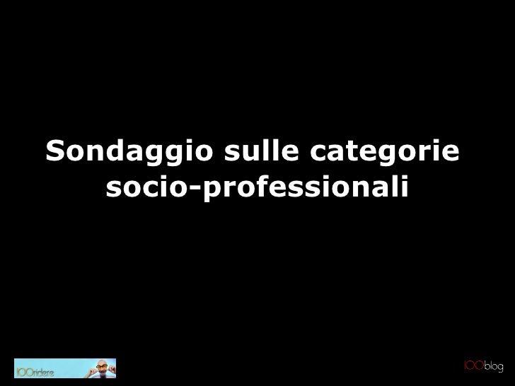 Sondaggio sulle categorie  socio-professionali