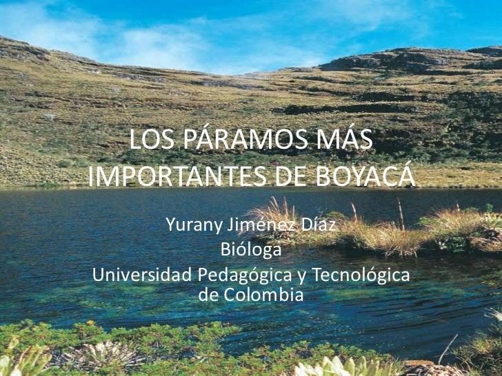 LOS PÁRAMOS MÁS IMPORTANTES DE BOYACÁ<br />Yurany Jiménez Díaz<br />Bióloga<br />Universidad Pedagógica y Tecnológica de C...