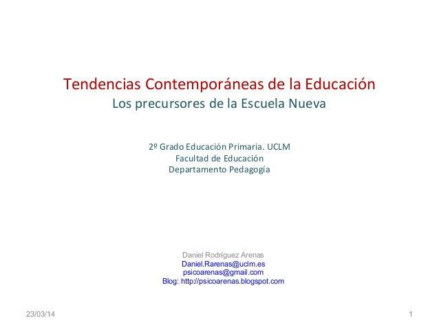 Tendencias Contemporáneas de la Educación Los precursores de la Escuela Nueva 2º Grado Educación Primaria. UCLM Facultad d...