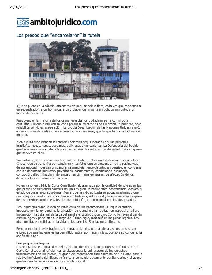 """21/02/2011                                    Los presos que """"encarcelaron"""" la tutela…   Los presos que """"encarcelaron"""" la ..."""