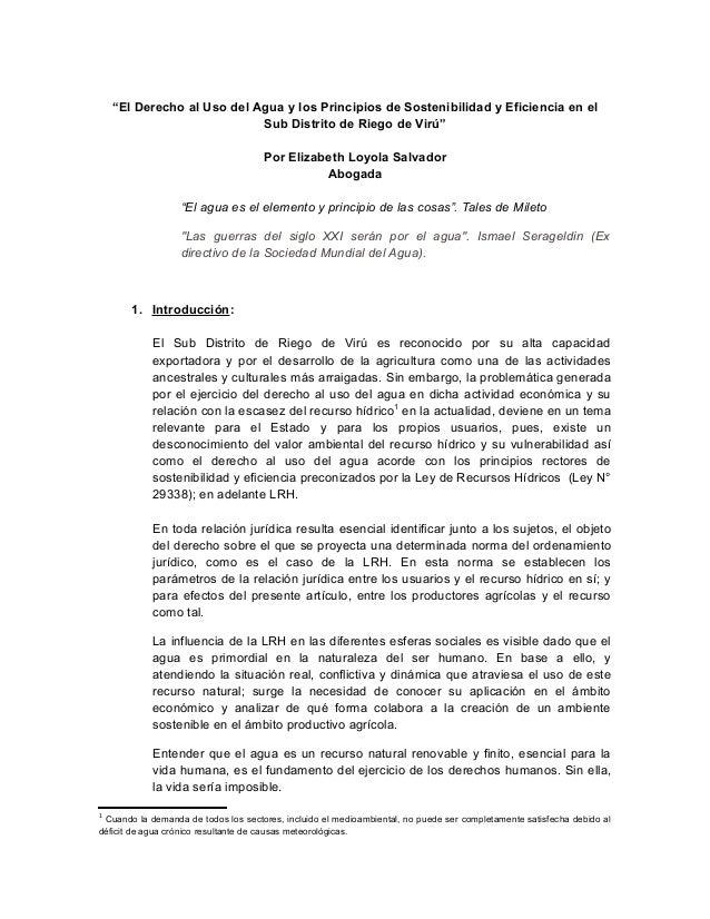 """""""El Derecho al Uso del Agua y los Principios de Sostenibilidad y Eficiencia en el Sub Distrito de Riego de Virú"""" Por Eliza..."""