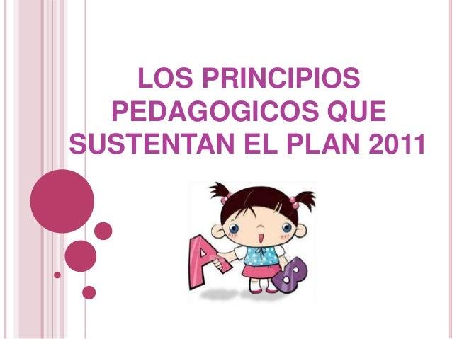 LOS PRINCIPIOS PEDAGOGICOS QUE SUSTENTAN EL PLAN 2011