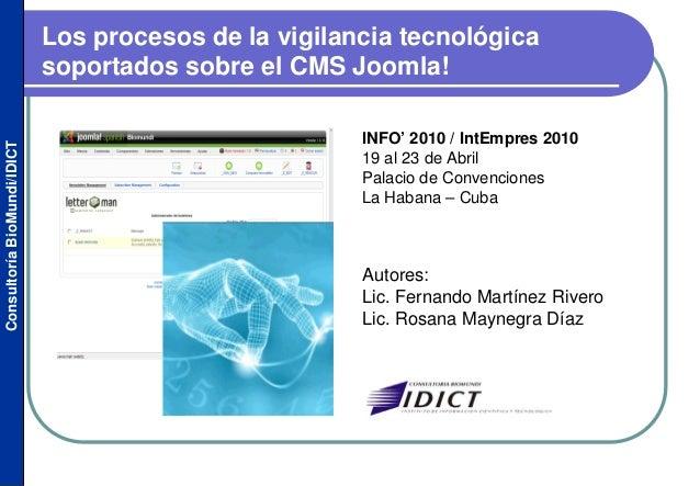 Los procesos de la vigilancia tecnológica soportados sobre el CMS Joomla!