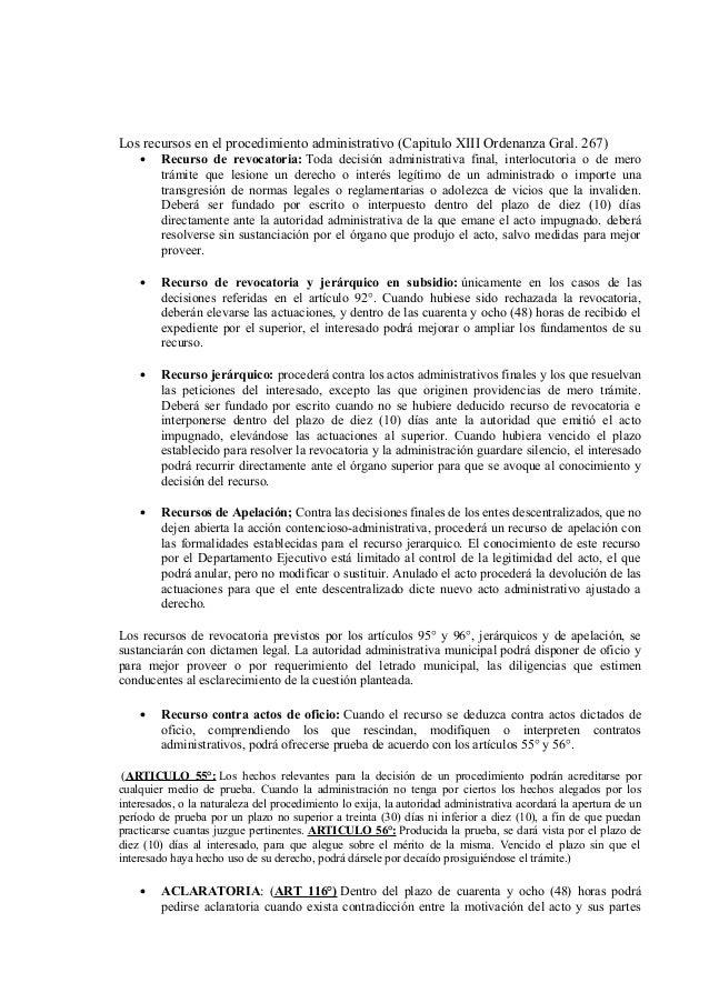 Los recursos en el procedimiento administrativo (Capitulo XIII Ordenanza Gral. 267) •  Recurso de revocatoria: Toda decisi...