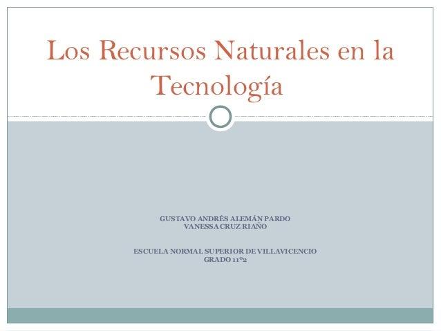 Los Recursos Naturales en la        Tecnología            GUSTAVO ANDRÉS ALEMÁN PARDO                 VANESSA CRUZ RIAÑO  ...