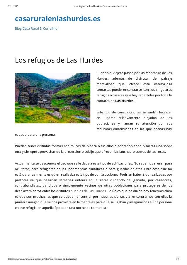 22/1/2015 Los refugios de Las Hurdes - Casaruralenlashurdes.es http://www.casaruralenlashurdes.es/blog/los-refugios-de-las...