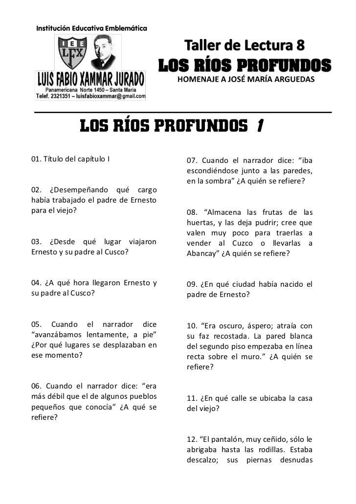"""LOS RÍOS PROFUNDOS 101. Título del capítulo I             07. Cuando el narrador dice: """"iba                               ..."""