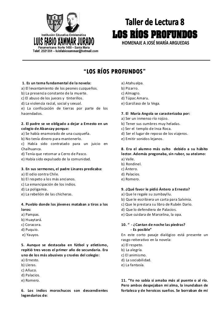 """""""LOS RÍOS PROFUNDOS"""" 1. Es un tema fundamental de la novela:              a) Atahualpa.a) El levantamiento de los peones c..."""