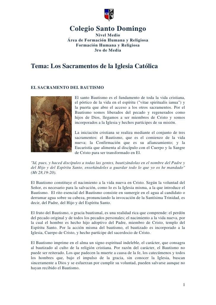 Los sacramentos de la iglesia catolica (resumen)