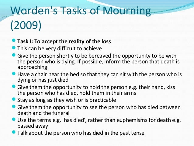 comparison of theories on death and grief The term bereavement denotes the objective situation of a person who has experienced the death of someone significantgrief then refers to the emotional experience of the psychological, behavioral, social, and physical reactions the bereaved person might experience as a result of this death.