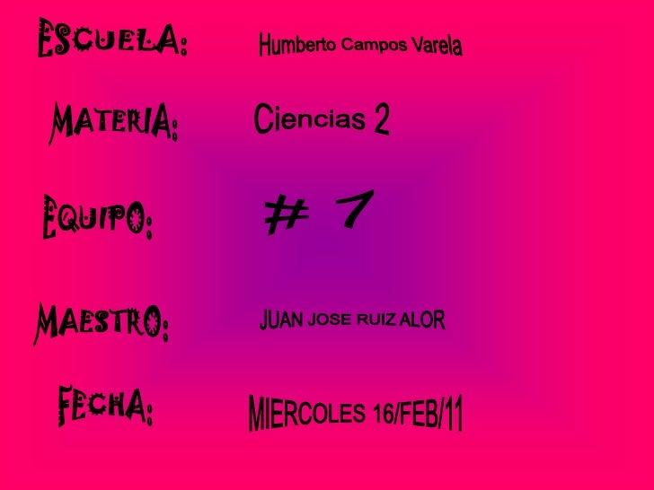 ESCUELA: <br />Humberto Campos Varela <br />MATERIA:<br />Ciencias 2<br /># 7<br />EQUIPO:<br />MAESTRO:<br />JUAN JOSE RU...