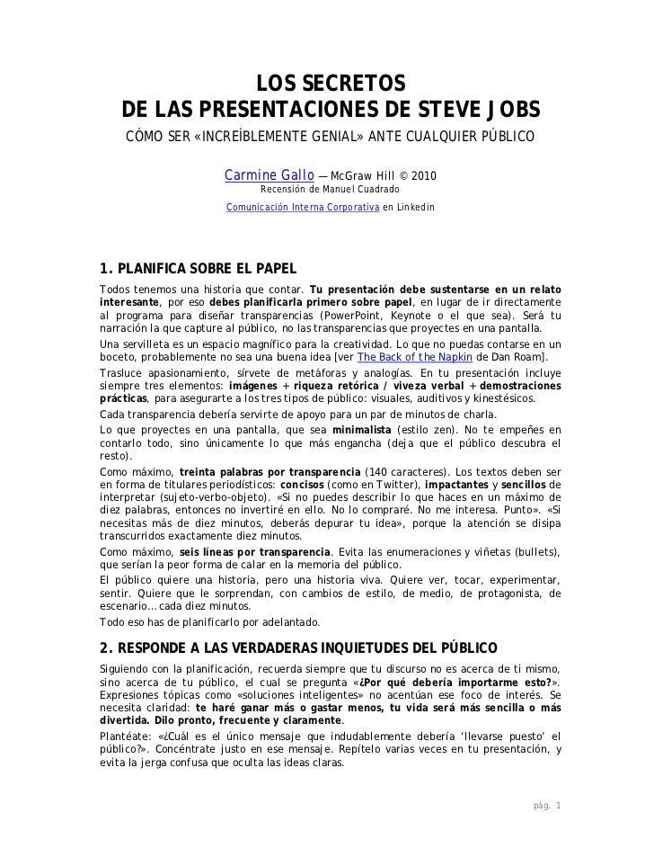 LOS SECRETOS    DE LAS PRESENTACIONES DE STEVE JOBS     CÓMO SER «INCREÍBLEMENTE GENIAL» ANTE CUALQUIER PÚBLICO           ...